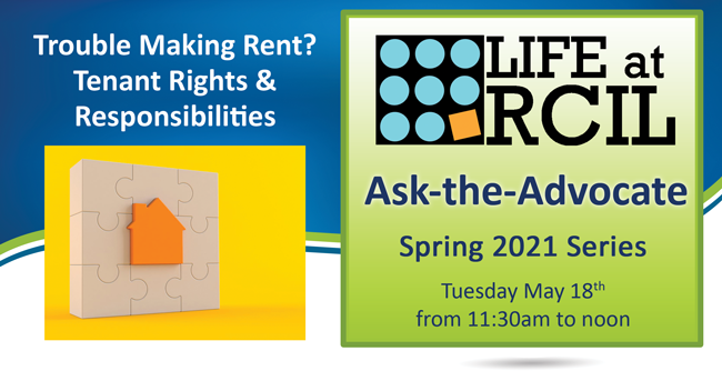 Text Reading Trouble Making Rent? Tenant Rights & Responsibilities and image of a puzzle pieces making a house