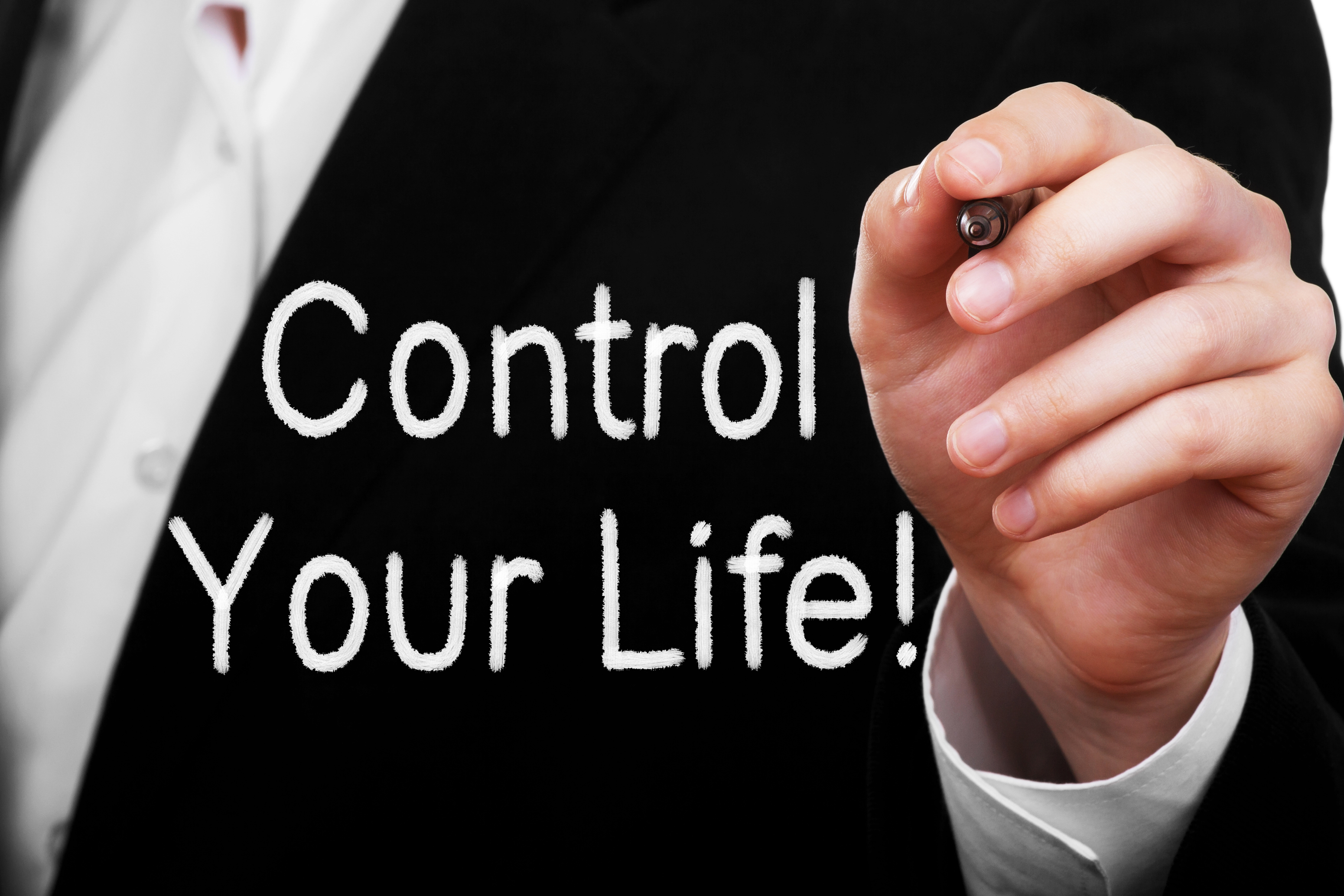 Background image of suit coat with words reading Control Your Life
