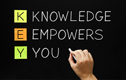 Knowledge Empowers You written on a chalkboard